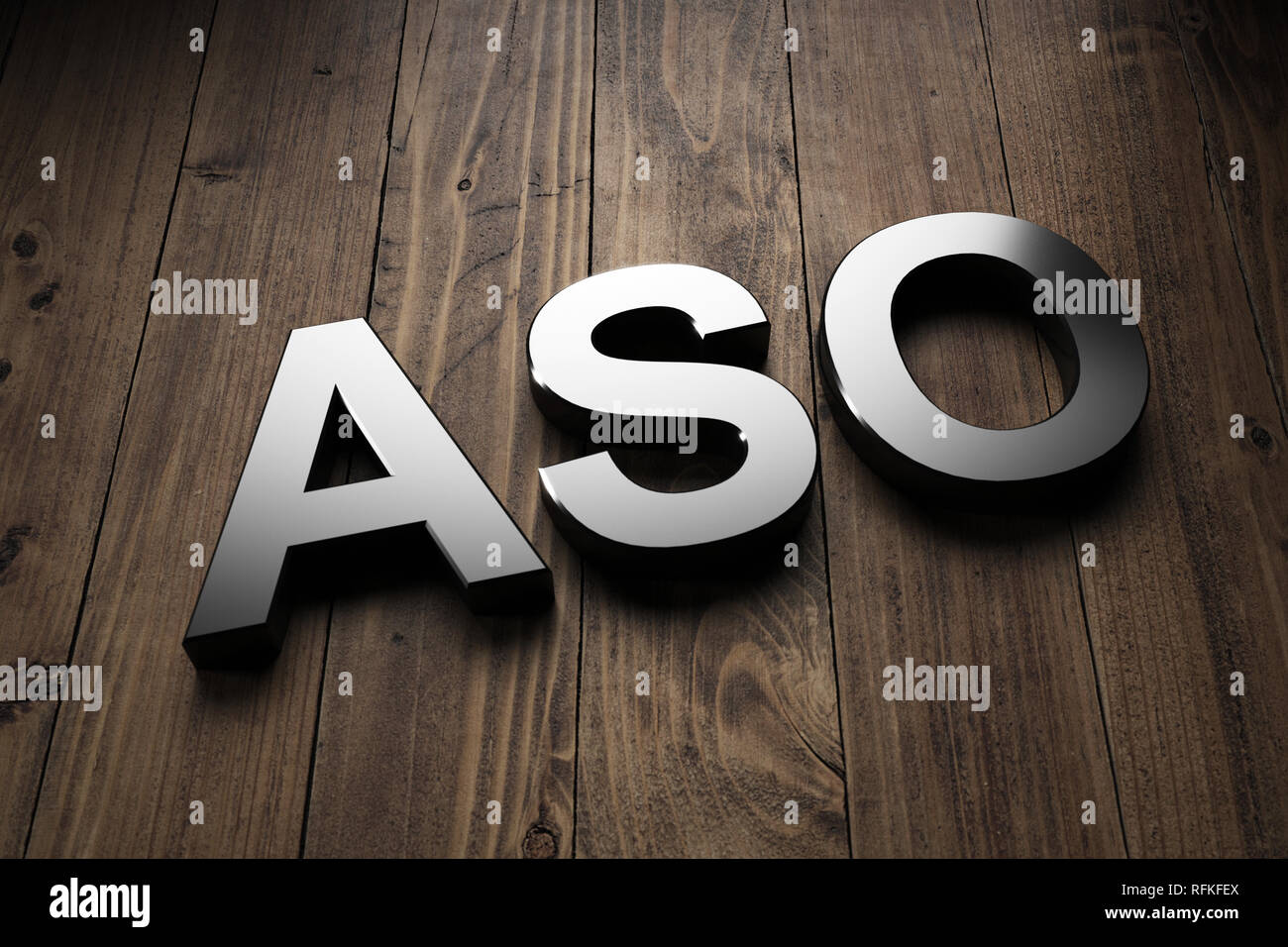 Dimensional ASO sign on wood with copy space conceptual of App Store Optimisation for optimising the rank of mobile apps for increased visibility to c - Stock Image