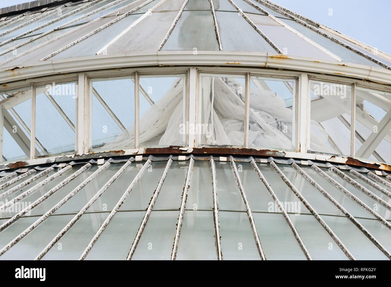 Glasgow winter gardens glasshouse in disrepair shortly after closure, Glasgow Green, Glasgow, scotland, UK - Stock Image