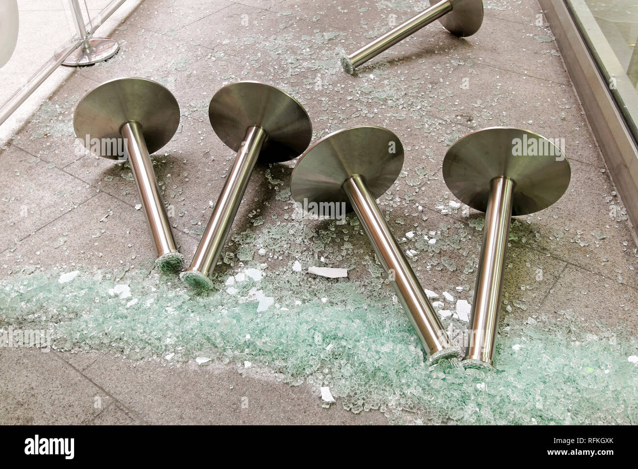 Pile of broken glass after destruction damage - Stock Image
