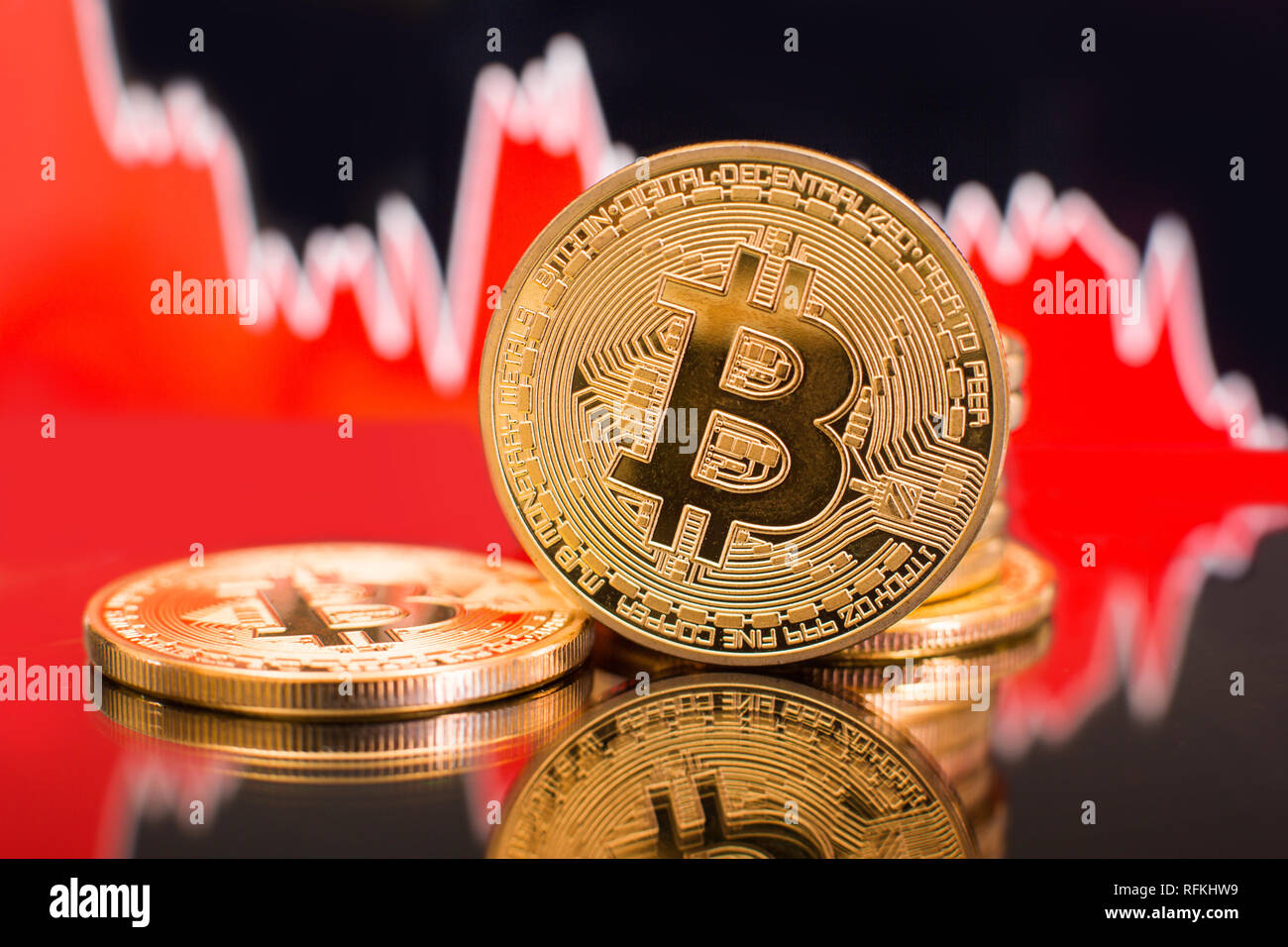Bitcoin with a red chart drop. Price crash and bear market trend concept. - Stock Image