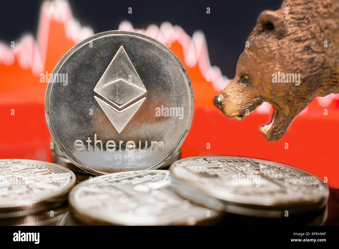 Ethereum with a red chart drop. Price crash and bear market trend concept. - Stock Image
