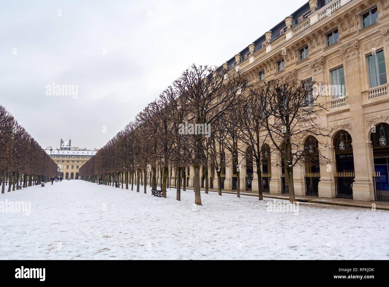 Palais Royal garden under snow, Paris, France Stock Photo