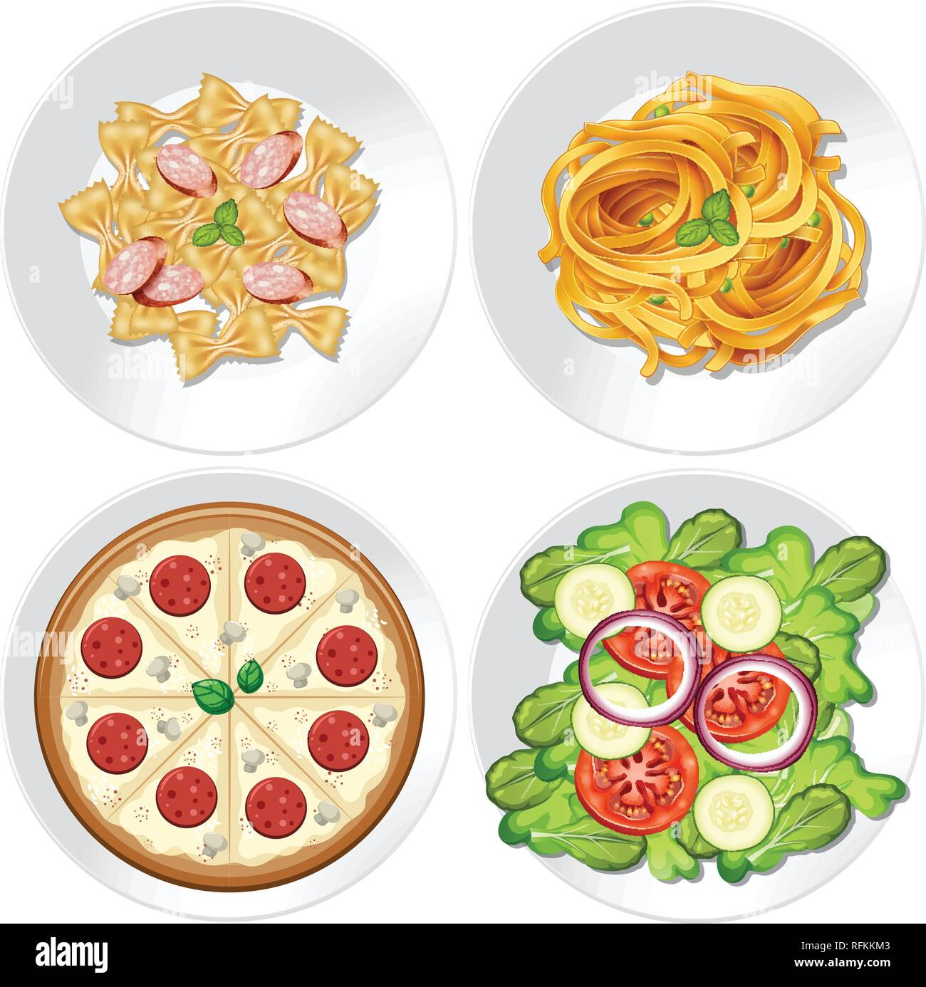 Set of healthy food illustration - Stock Image