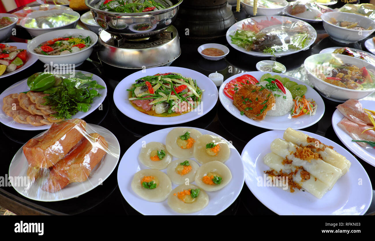 Variety of food on party table, group of Vietnamese food ...