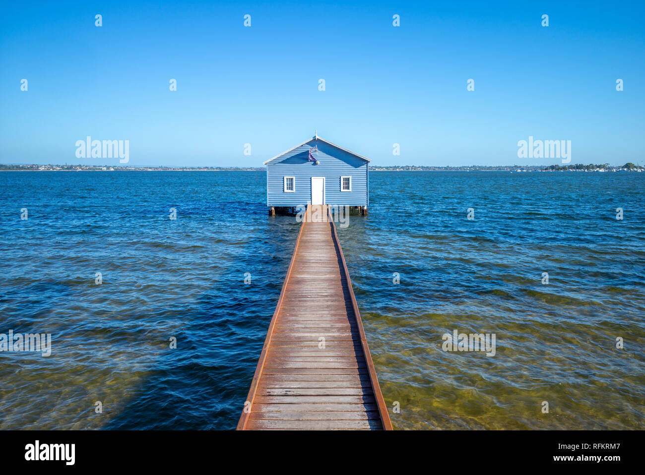 Crawley Edge Boatshed, blue boat houes in perth - Stock Image