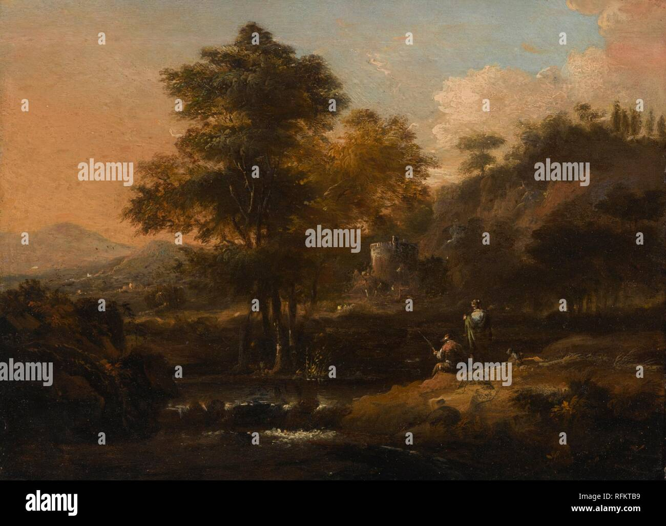 Dutch School, 18th Century A RIVER LANDSCAPE WITH FIGURES ON THE