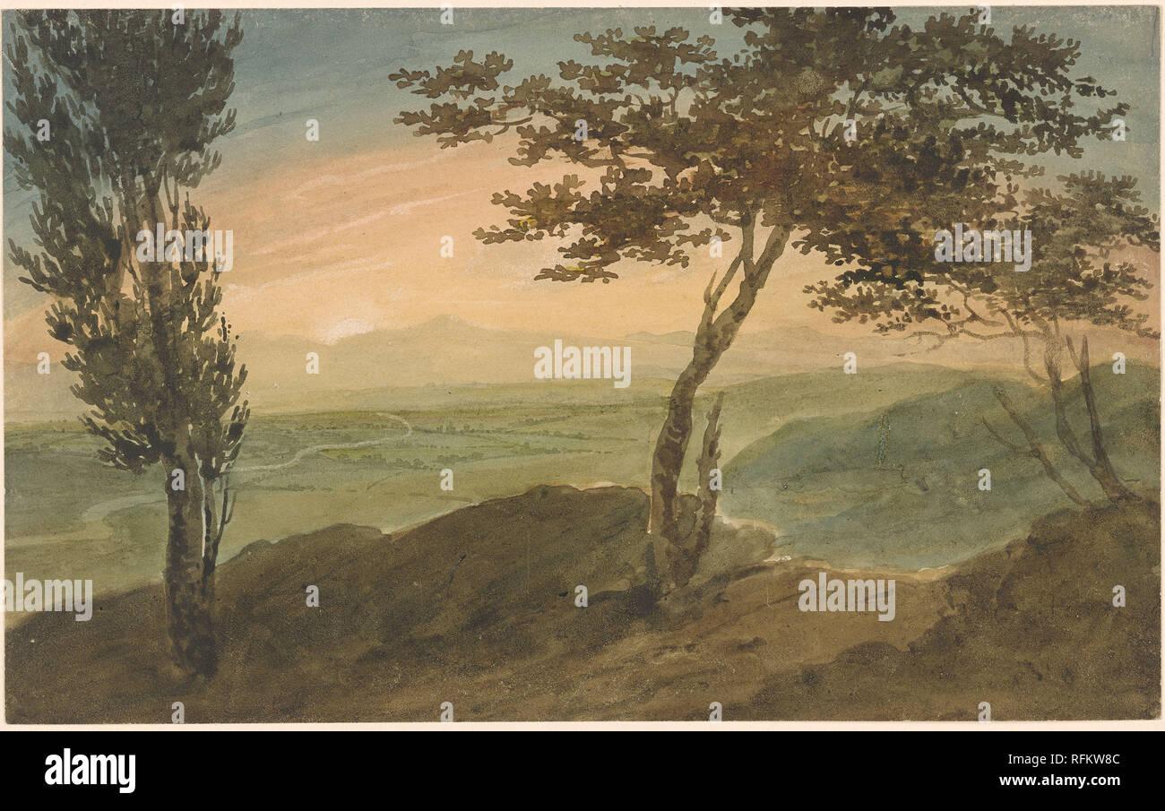 Henri Harpignies 1819-1916 Landscape in the Auvergne.jpg - RFKW8C  - Stock Image