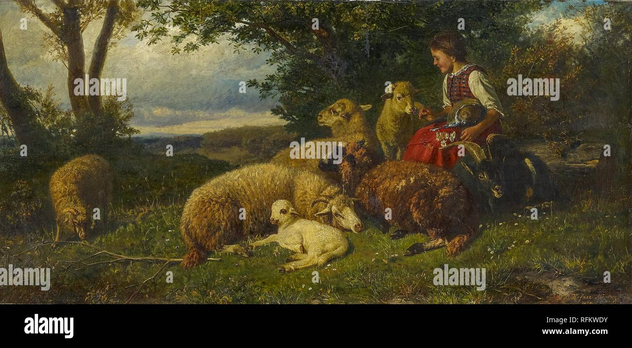 "Johann Baptist Hofner Girl Sheep and Lamb  /""The Young Shepherdess/"""