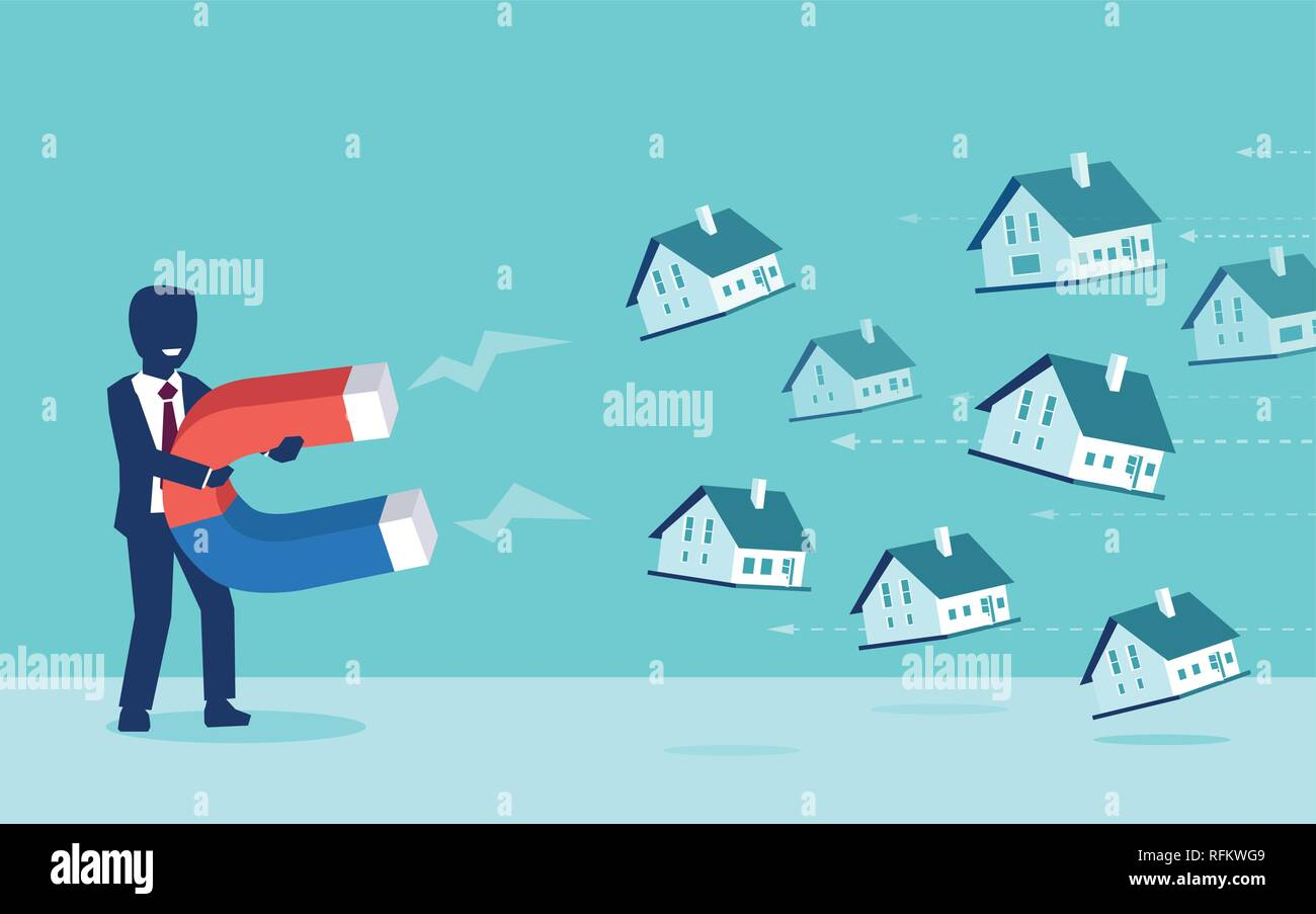Real estate market concept. Vector of a businessman with magnet attracting houses - Stock Image