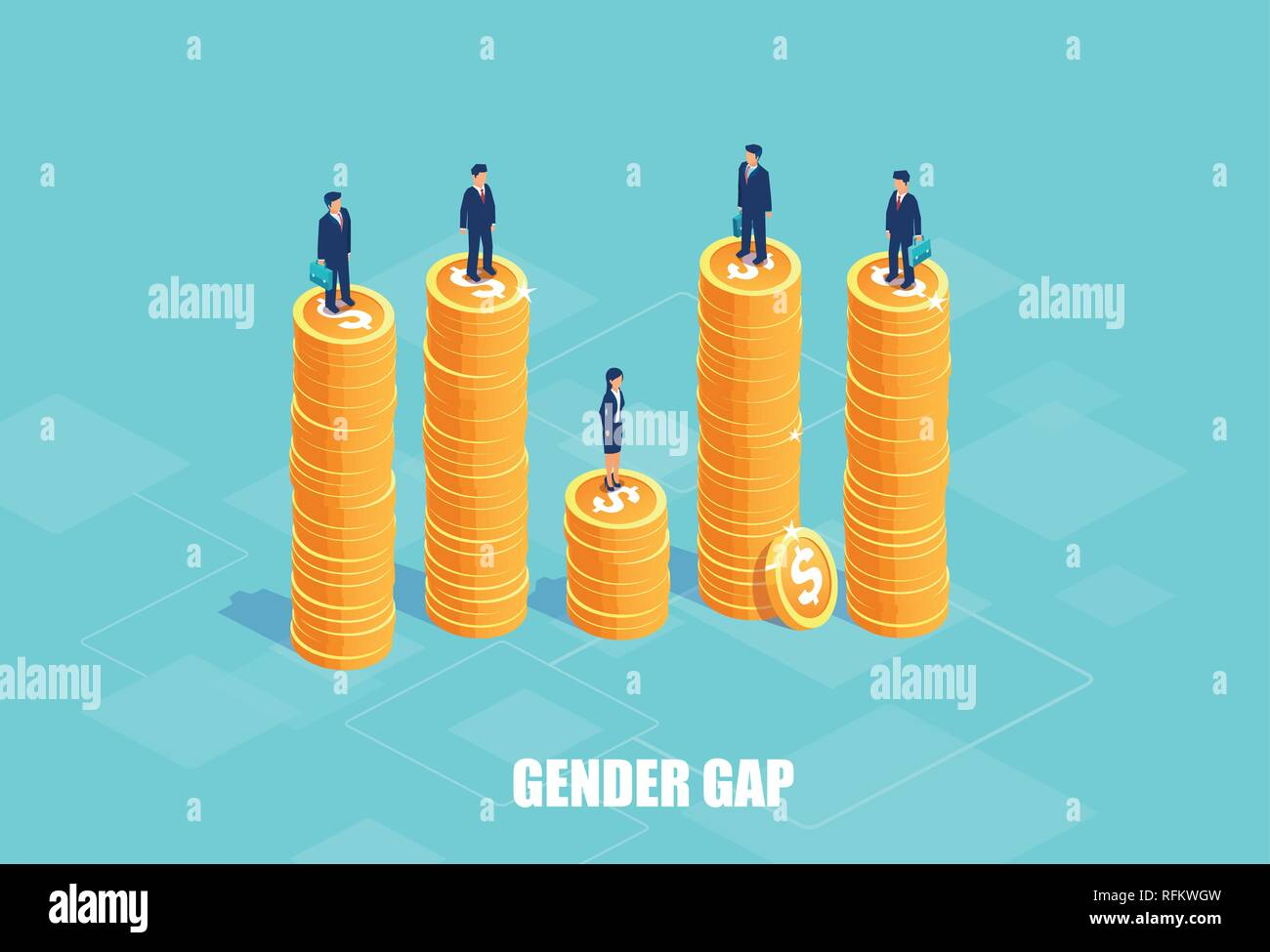 Gender gap and pay difference concept. Vector of businessmen and businesswoman on piles of coins of different height. Symbol of discrimination and inj - Stock Image