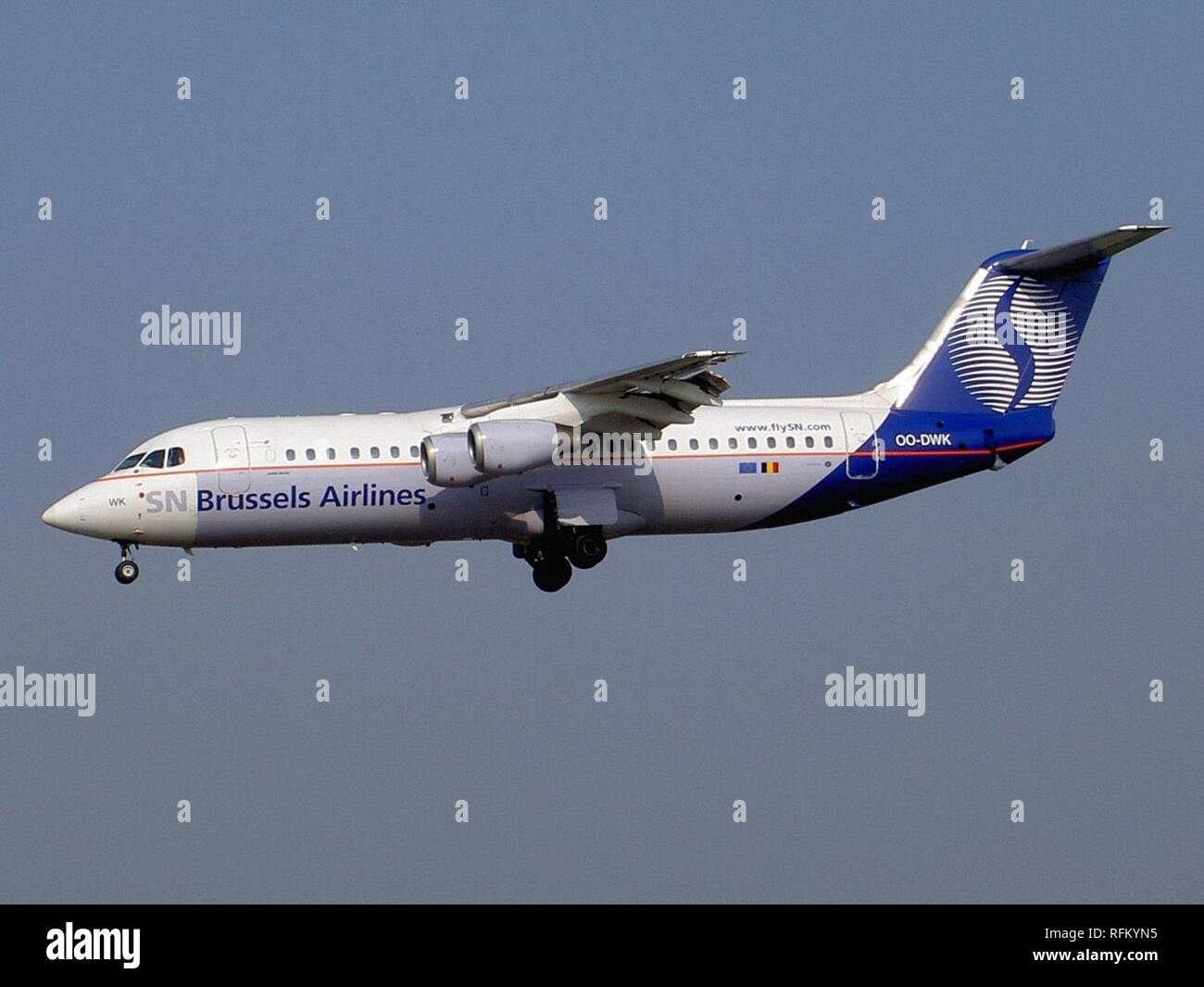 BAE Systems Avro 146-RJ100 Brussels Airlines OO-DWK landing at Zaventem. - Stock Image