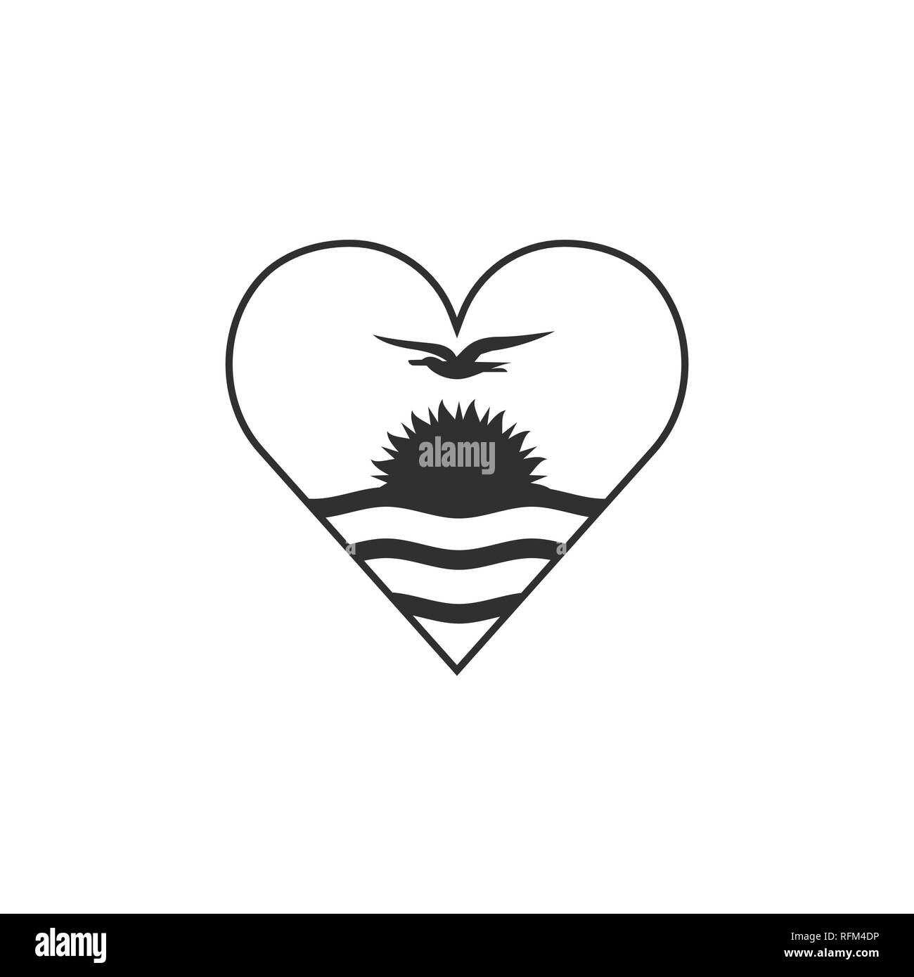 Kiribati flag icon in a heart shape in black outline flat design. Independence day or National day holiday concept. - Stock Image