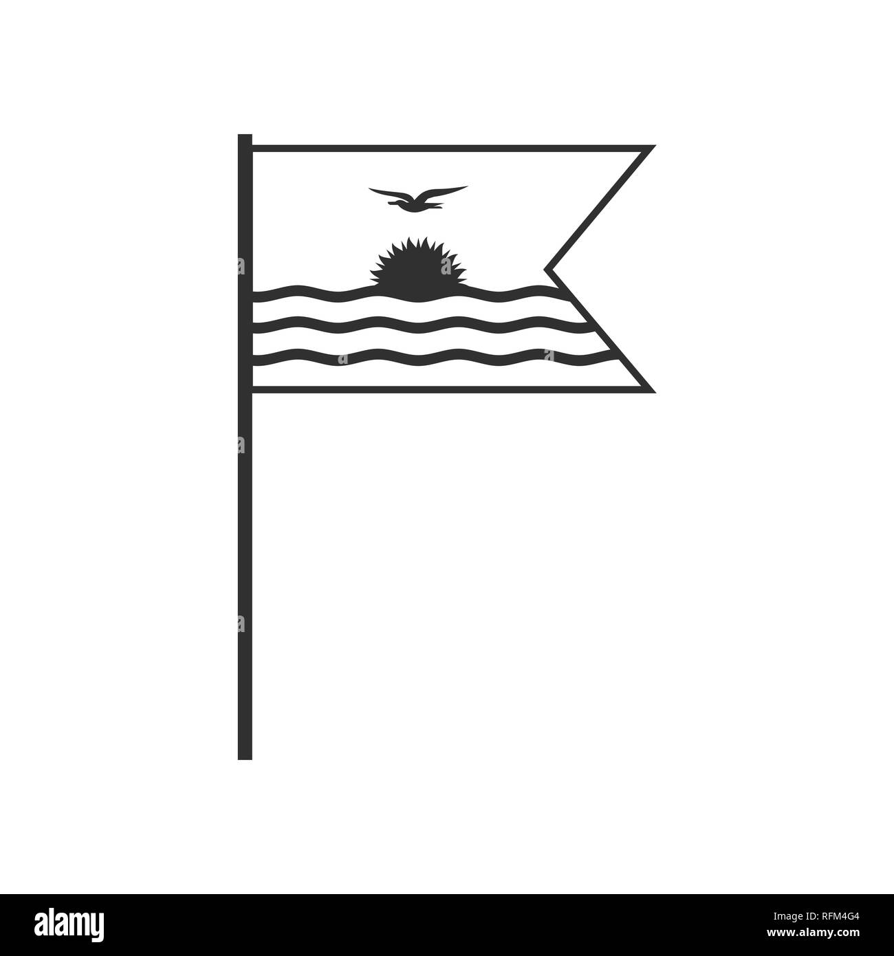 Kiribati flag icon in black outline flat design. Independence day or National day holiday concept. - Stock Image