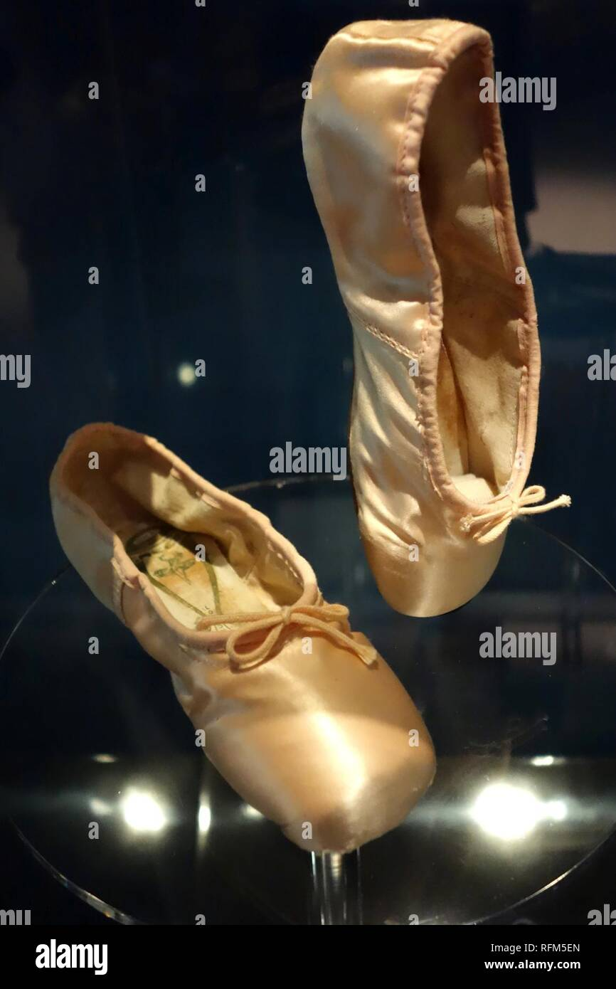 f4c2d97f008a Ballet shoes used by Dame Margot Fonteyn de Arias - Bata Shoe - Stock Image