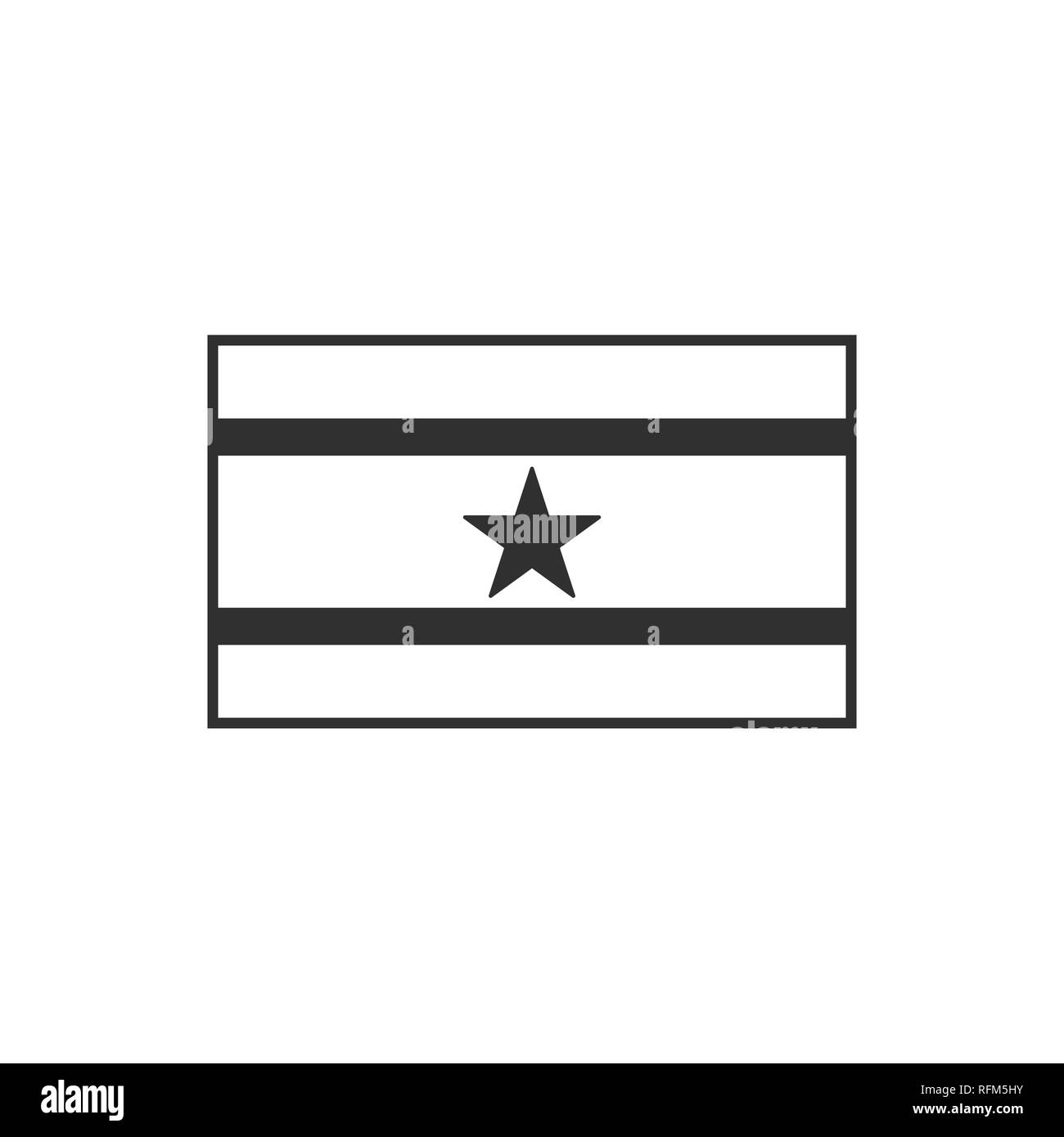 Suriname flag icon in black outline flat design. Independence day or National day holiday concept. - Stock Image