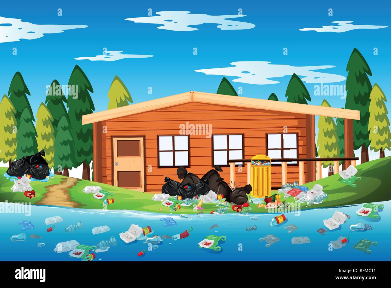 Litter in the log house illustration Stock Vector