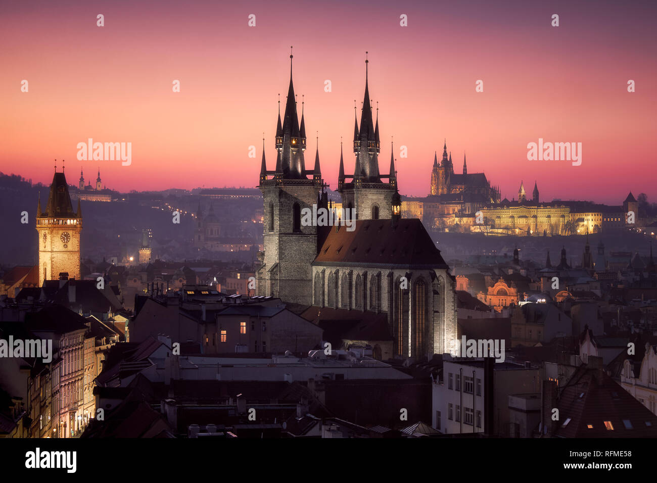 An amazing sunset in Prague - Stock Image