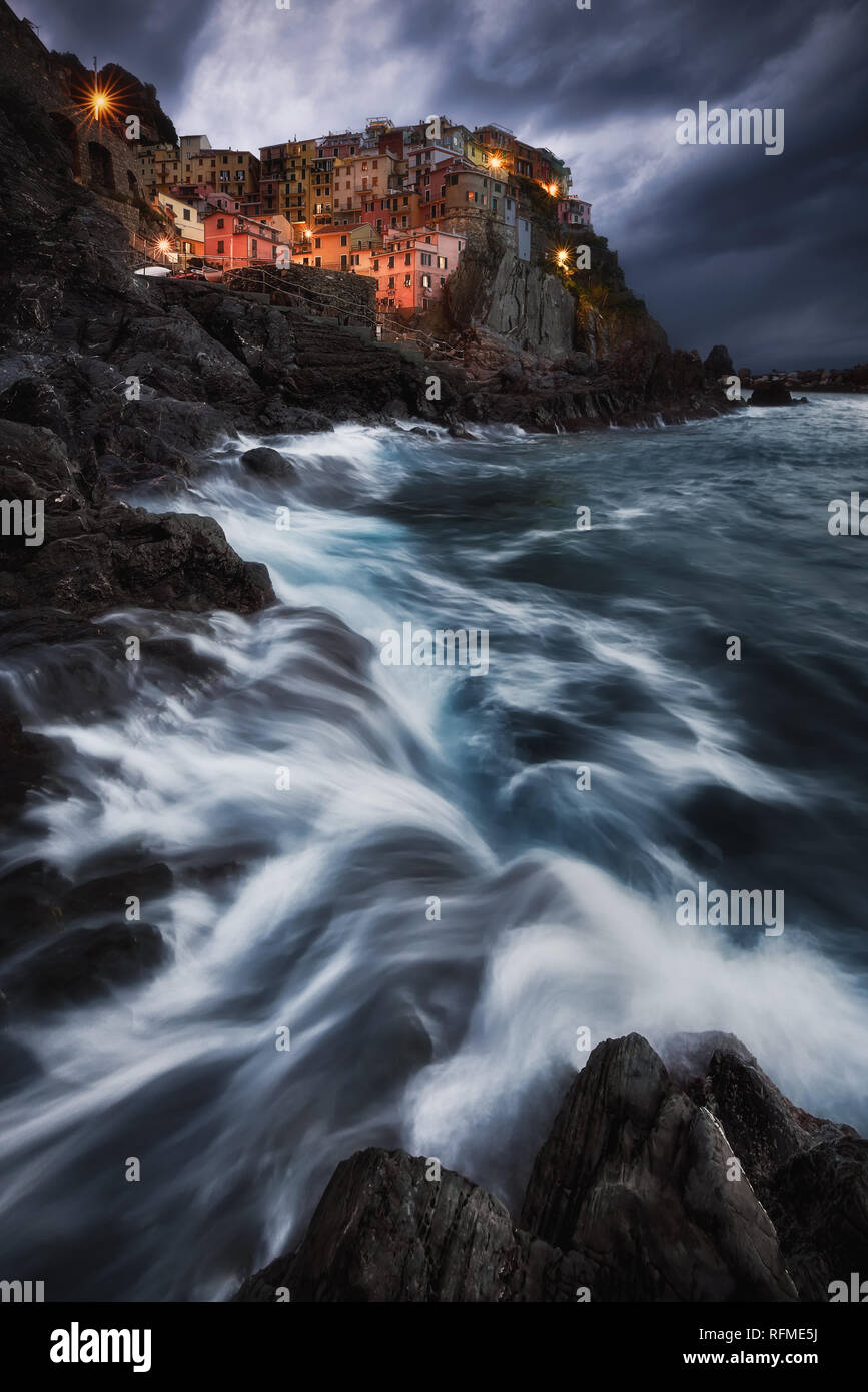 A stormy night in Manarola at the amazing cinque terre. - Stock Image