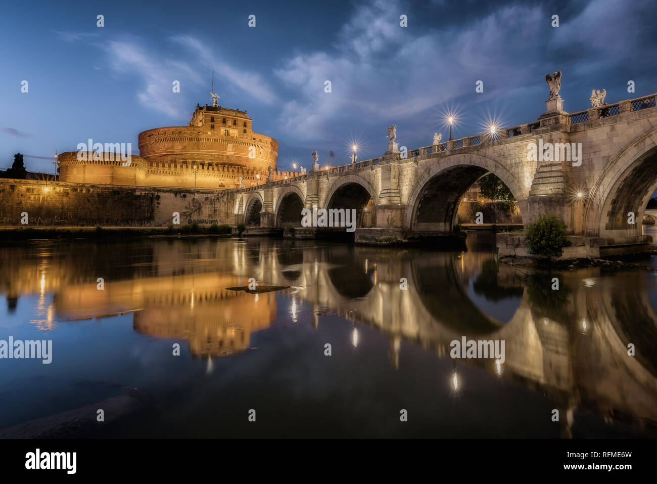 A beautiful night in Rome, Italy. - Stock Image