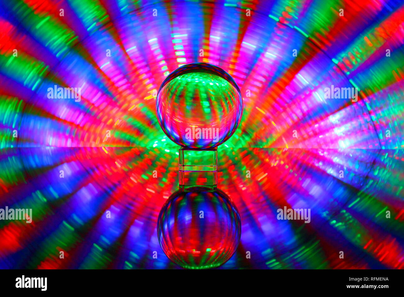 Eye of the Storm created with a lensball and light painting - Stock Image