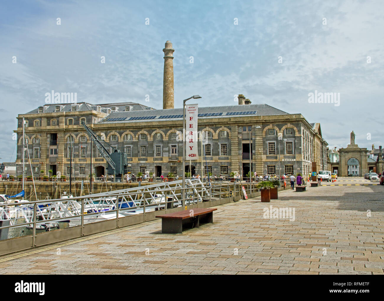 Mills Bakery block at the Royal William Yard Plymouth. Undergoing regeneration a former Victualling Yard returned to civil use. Housing etc - Stock Image
