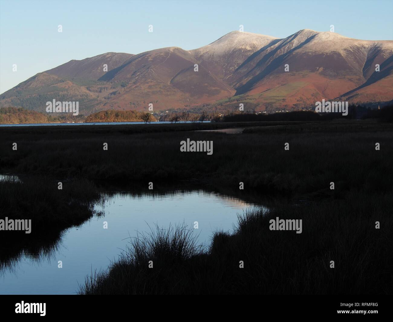 A marsh pond in shadow at the southern end of Derwentwater with the sunlit Northern Fells beyond, Lake District National Park, Cumbria, United Kingdom Stock Photo