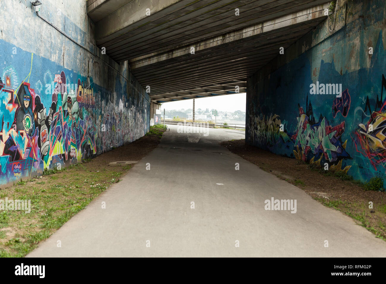 Brest, France 28 May 2018 Graffiti urban tunnel on the Botanical Garden in the Brest France may 2018. Stock Photo
