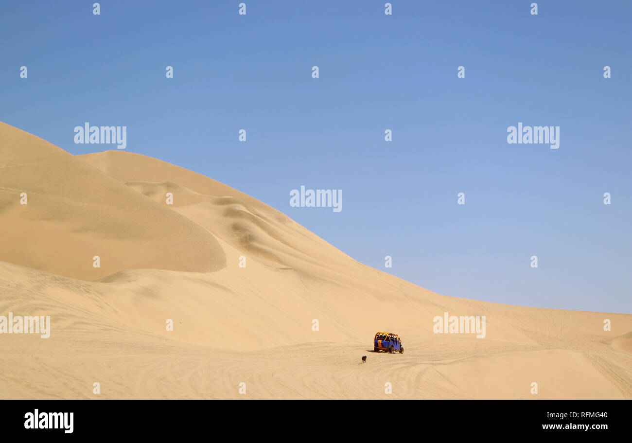 Running dune buggy chasing by a naughty dog on the sand dunes of Huacachina desert, Ica region, Peru Stock Photo