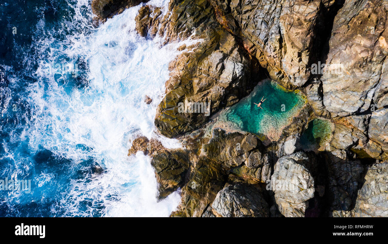 Piscines Naturelles, Natural Pool, Grand Fond, very North East corner of Saint Barthélemy or  St Barths or St Barts, Caribbean Sea Stock Photo