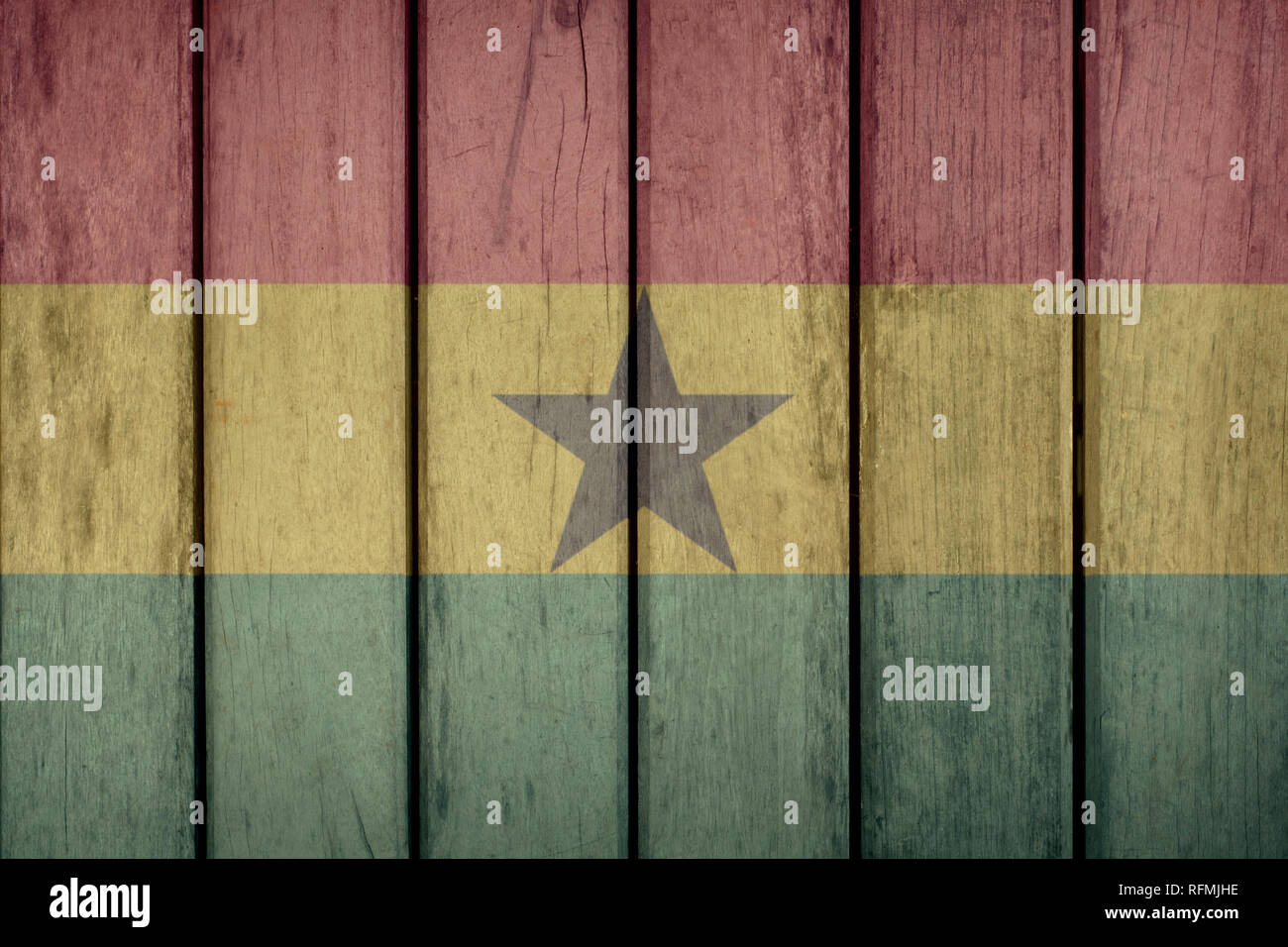 Ghana Politics News Concept: Ghanaian Flag Wooden Fence - Stock Image