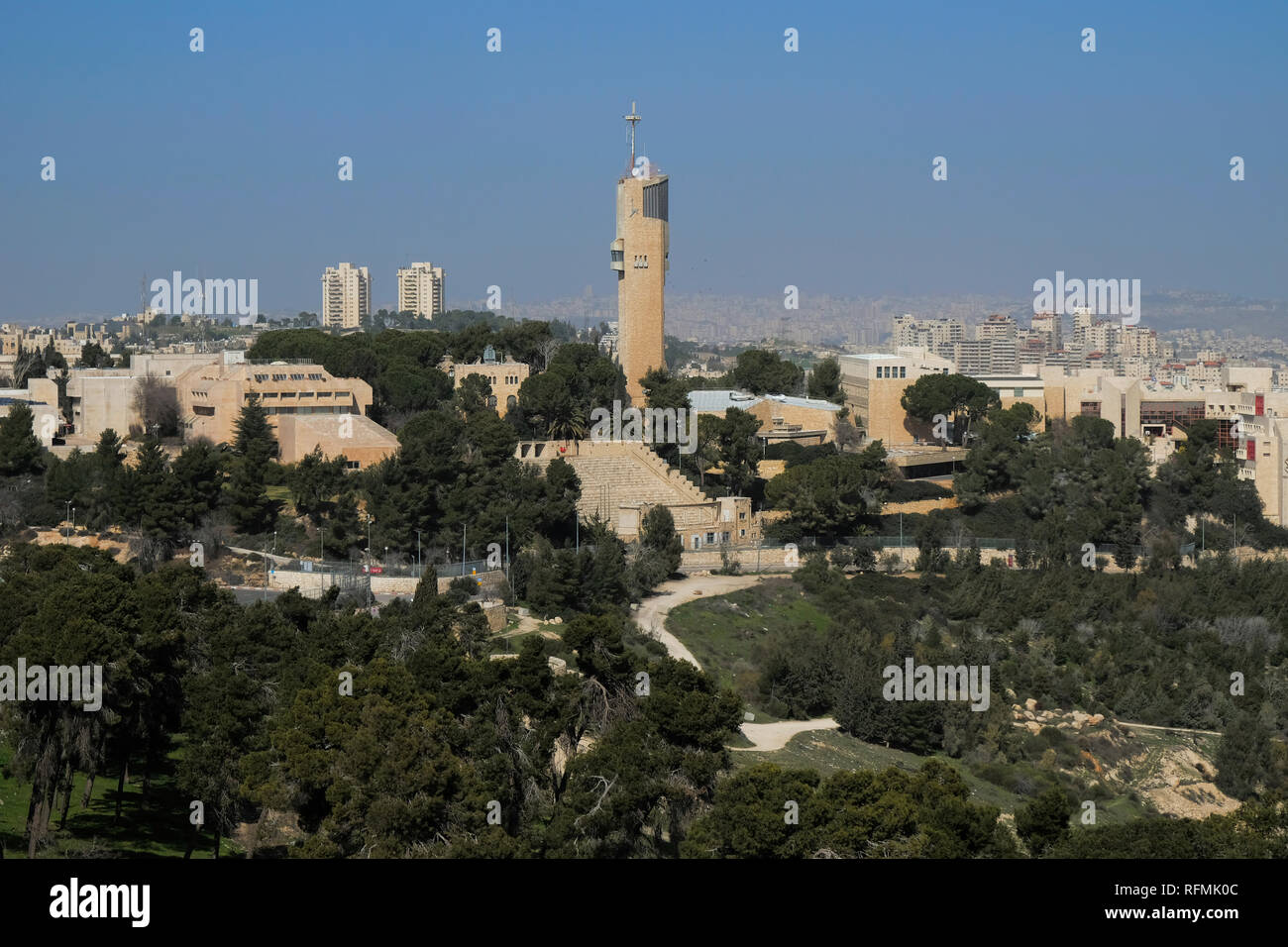 View of the Hebrew University of Jerusalem located on mount of