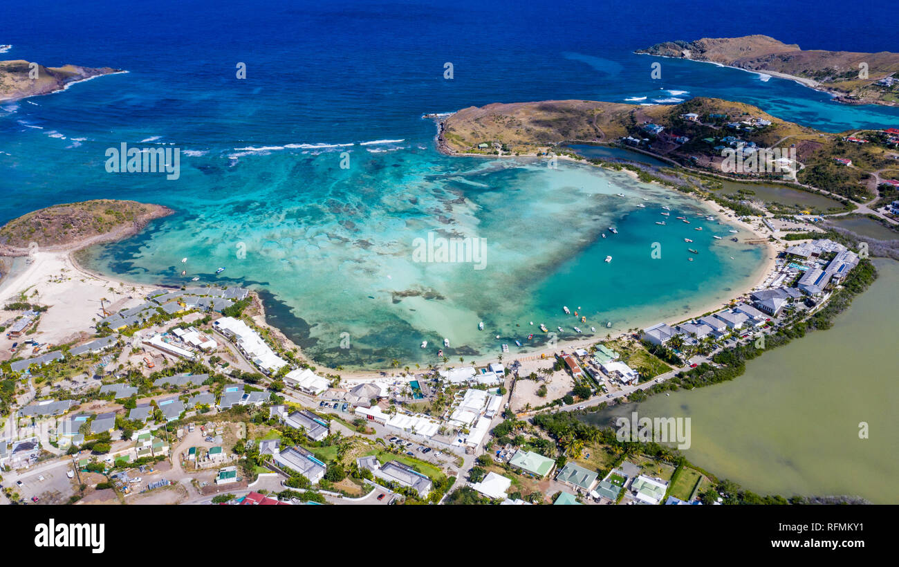 Grand Cul de Sac Beach, Saint Barthélemy or  St Barths or St Barts, Caribbean Sea - Stock Image