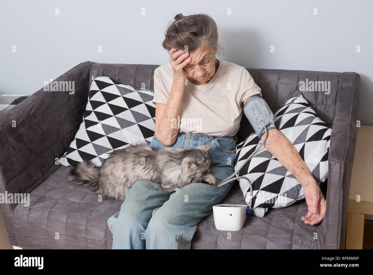 The topic is very old person and health problems. A senior Caucasian woman, 90 years old, with wrinkles and gray hair, sits home on sofa with pet cat  - Stock Image