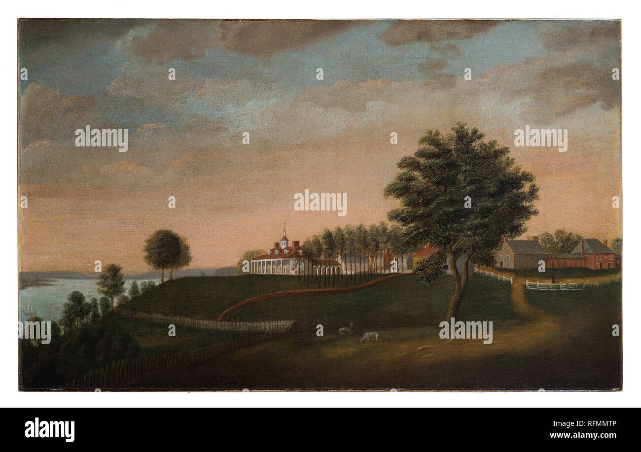 H-2445/A; Secondary object number A-1136; Savage's two paintings (H-2445/A&B) are the earliest known eyewitness views of the house and grounds at Mount Vernon. They date between 1787, when the Dove of Peace weathervane was added to the Mansion's cupola, and 1792, the year the outbuildings' roofs were repainted to a Spanish brown color and the deer paddock near the East Lawn was removed. The East Front portrays the bucolic setting of the Mansion, while the The West Front captures the bustle of everyday life at George Washington's famed estate.   Edward Savage possibly stopped at Mount Vernon wh - Stock Image