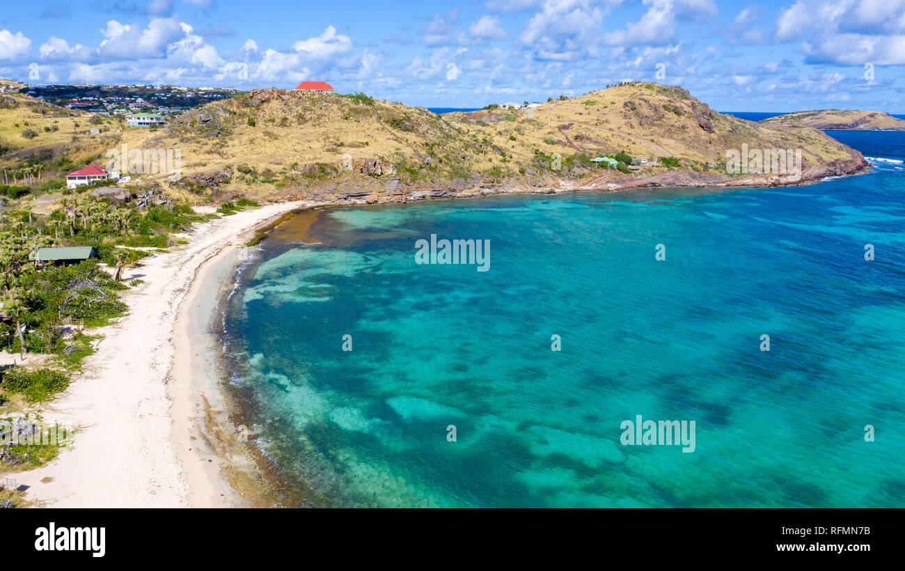 Petit Cul-De-Sac, public beach, Saint Barthélemy or  St Barths or St Barts, Caribbean Sea - Stock Image