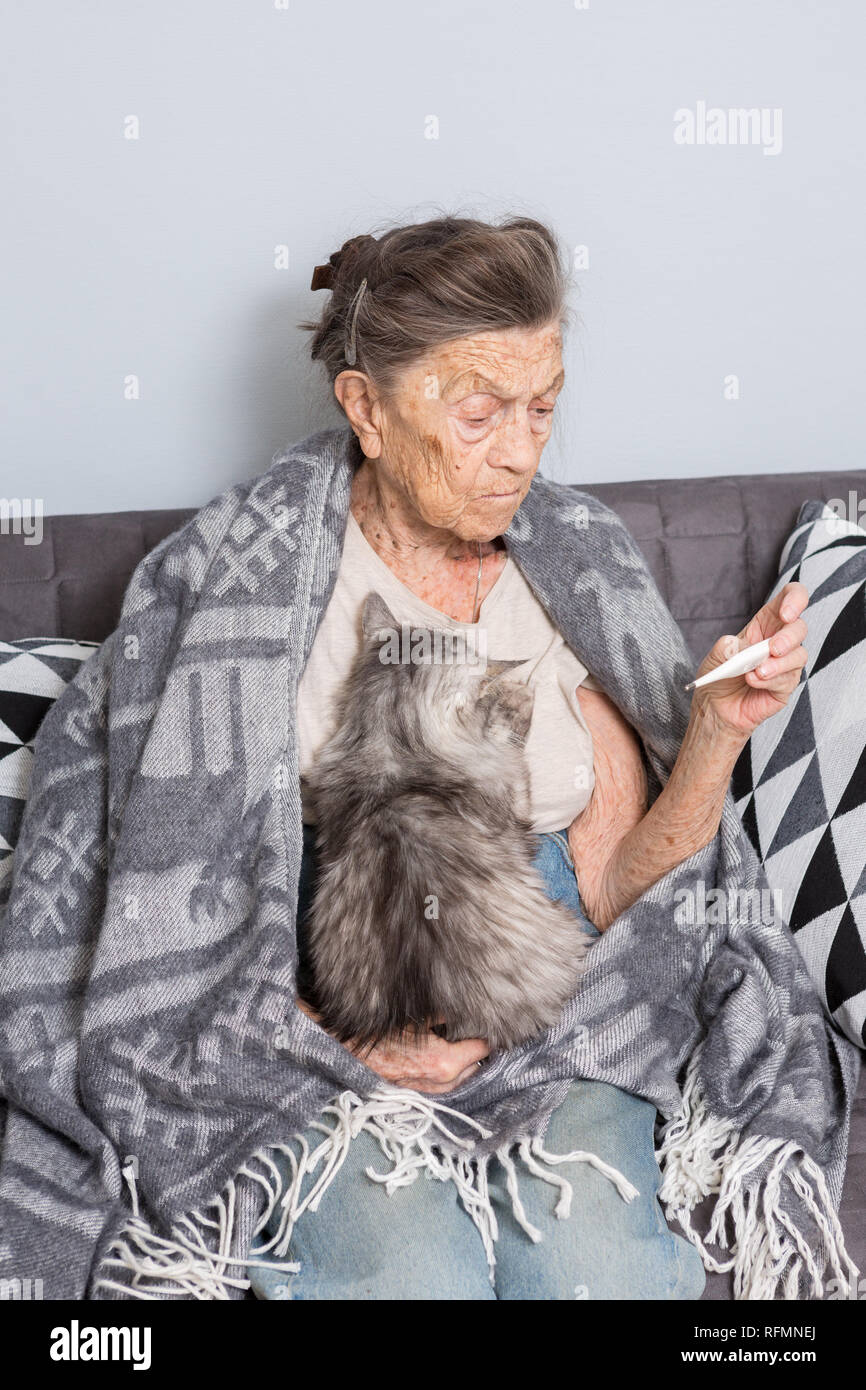 A very old senior Caucasian grandmother with gray hair and deep wrinkles is sitting at home on a sofa with a pet cat. Illness is cold and fever. Pensi - Stock Image