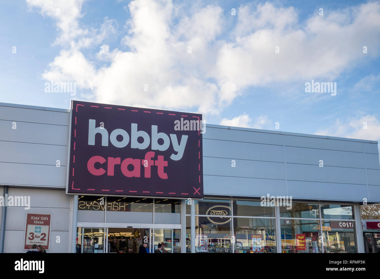 Hobby Craft store. Sign outside a Hobby Craft shop in Stevenage, UK - Stock Image