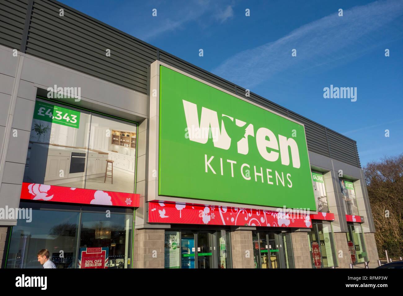 Wren Kitchens store sign. Sign outside a Wren Kitchens shop, Stevenage, UK - Stock Image
