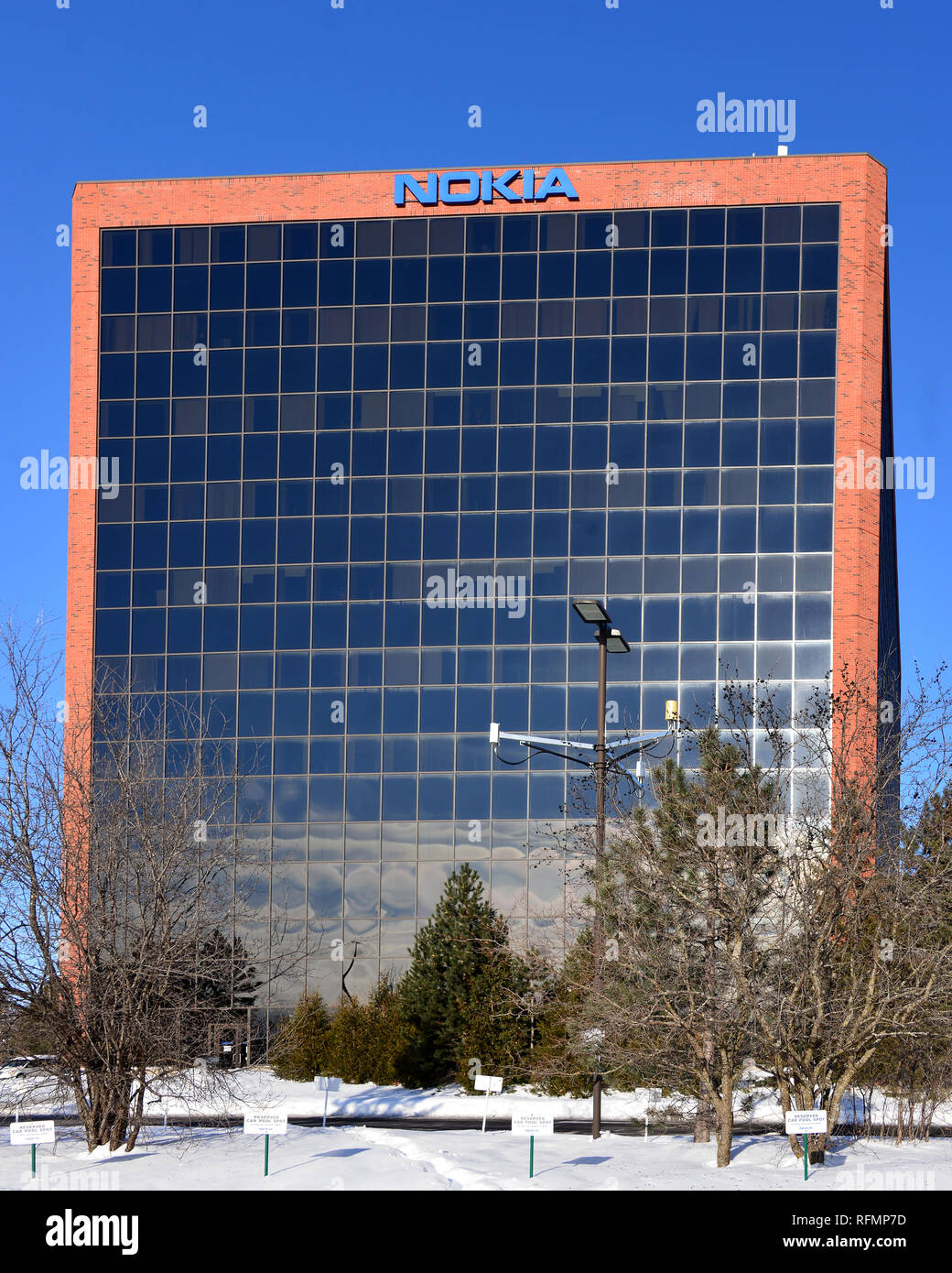 Kanata, Canada - January 26, 2019:  Nokia building on March Road outside Ottawa.  The Canadian Government recently pledged $40 million for Finnish tel - Stock Image