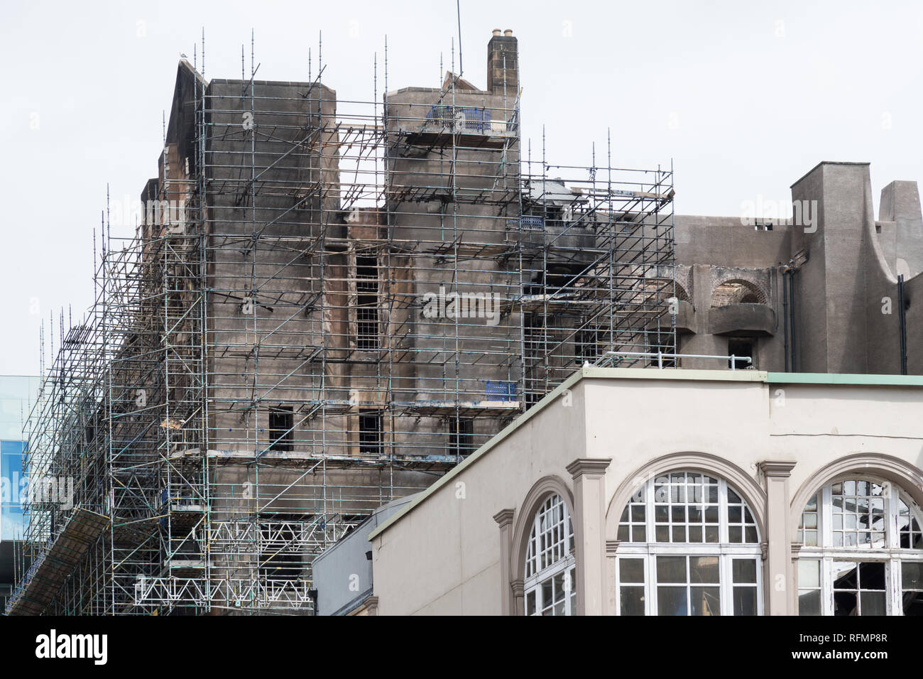 scaffolding around the Glasgow School of Art after the fire in 2018, Scotland, UK - Stock Image