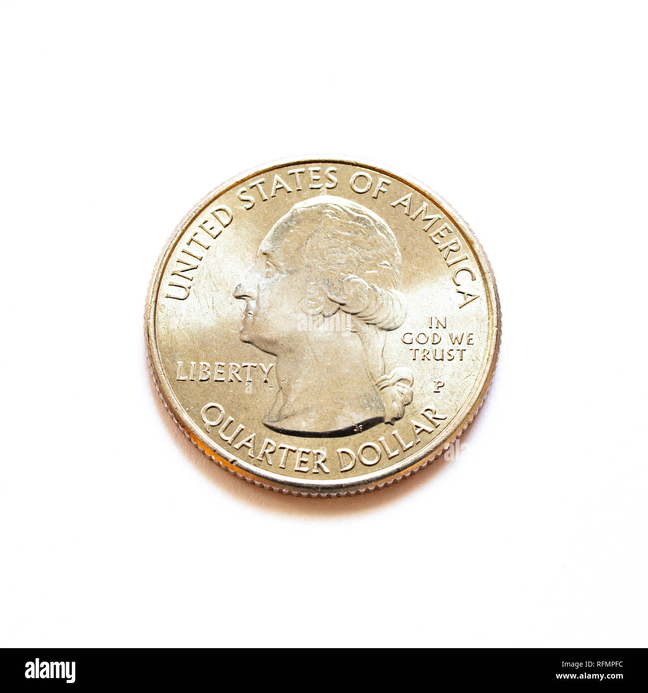 A shiny US quarter dollar coin isolated. - Stock Image