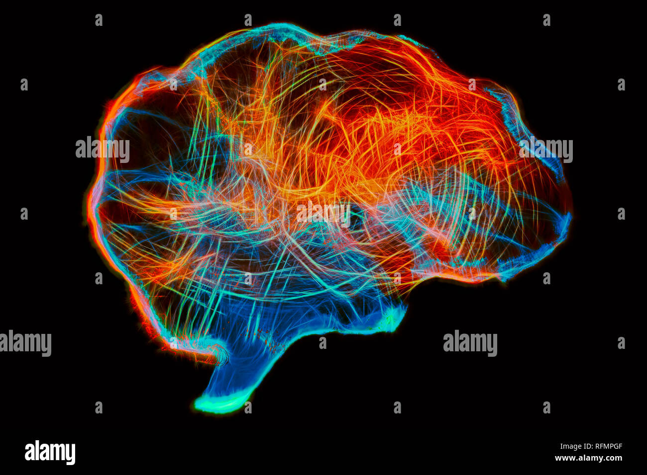 Representation of human brain by light painting technique - Stock Image