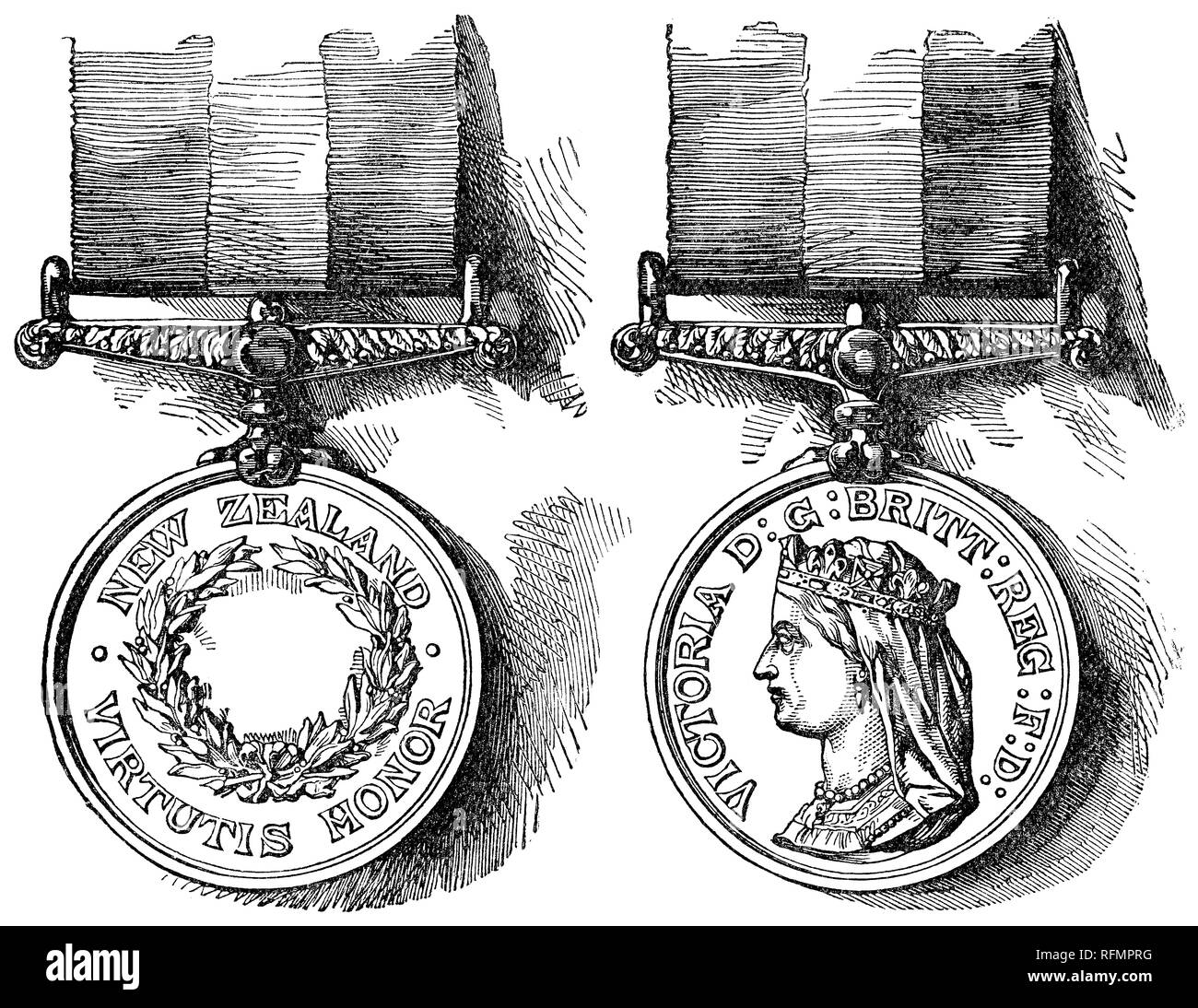 1888 Victorian engraving of the obverse and reverse sides of the New Zealand Medal, awarded for service during the New Zealand Wars ( or Maori Wars, Land Wars) of 1845-47 and 1860-66. - Stock Image