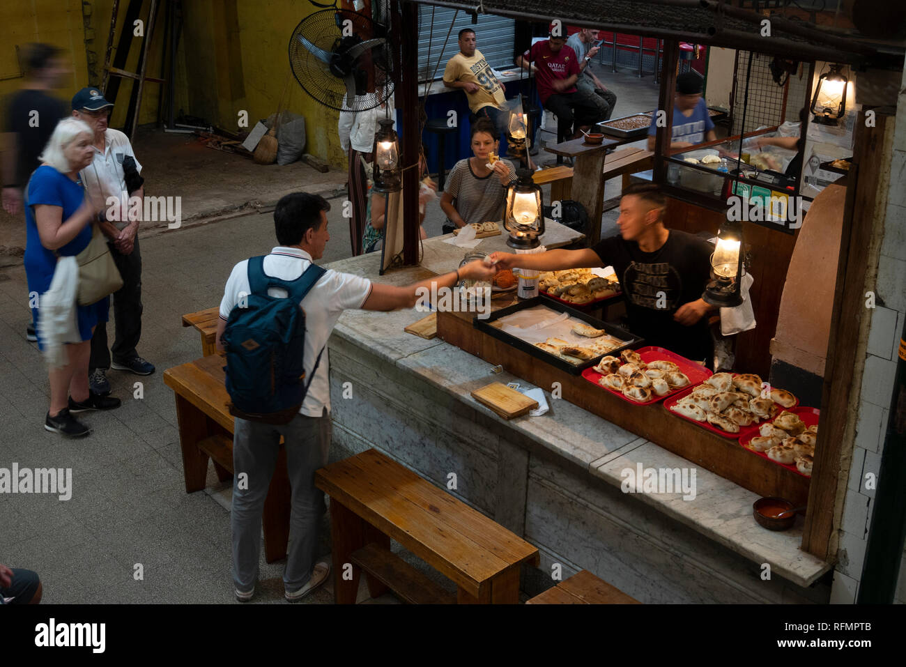 San Telmo Market, large indoor market located in the ancien San Telmo neighborhood of the city of Buenos Aires, Argentina. - Stock Image