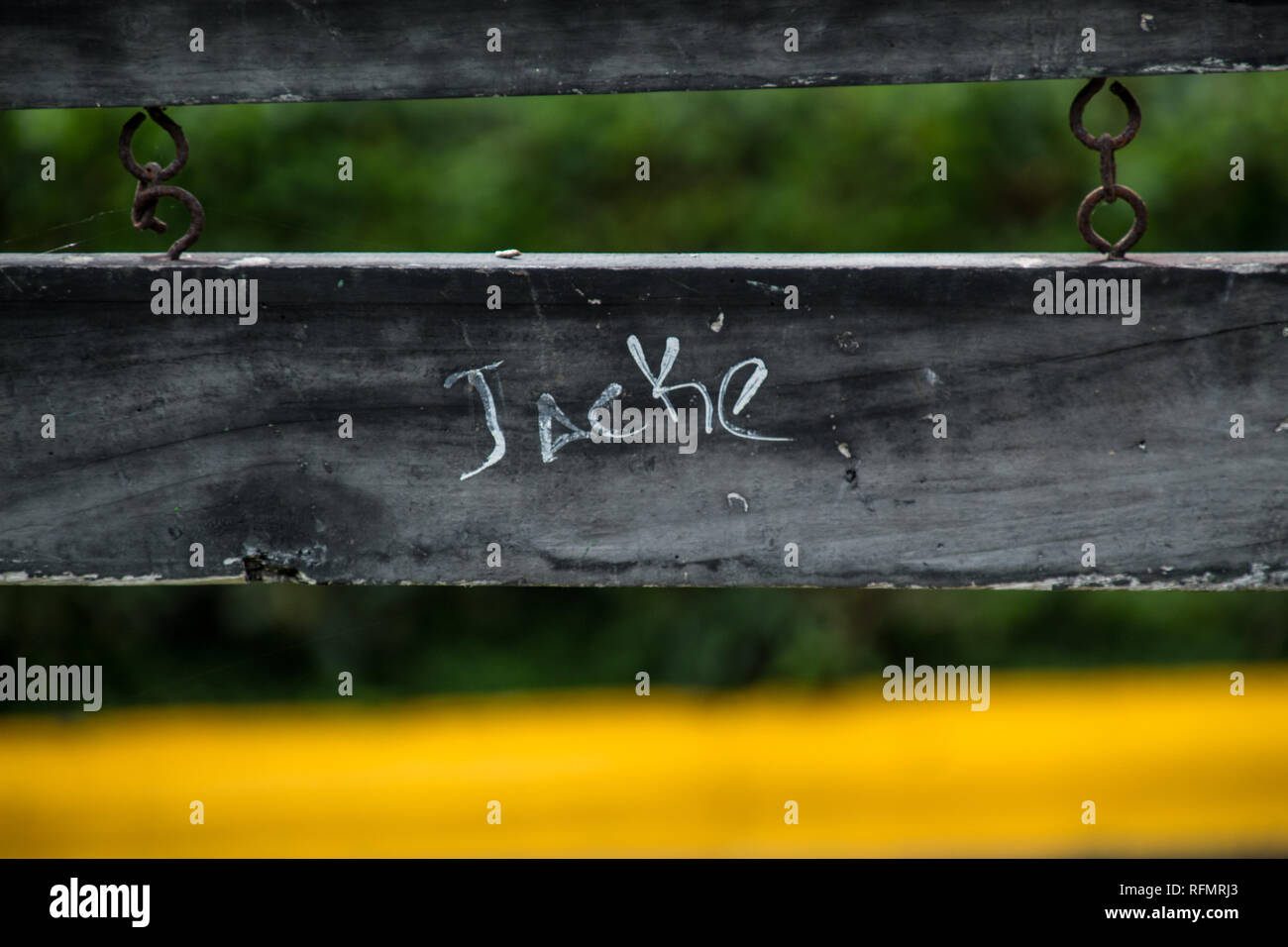 An old worn sign that has 'Jacke' written on it. Isolated on a blurred forest background. Yellow on the foreground - Stock Image