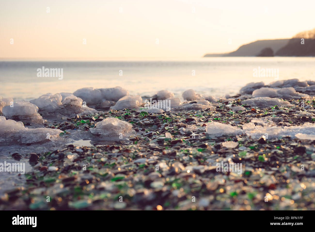 Glass beach is an attraction for travelers and tourists. Vladivostok, Russia - Stock Image