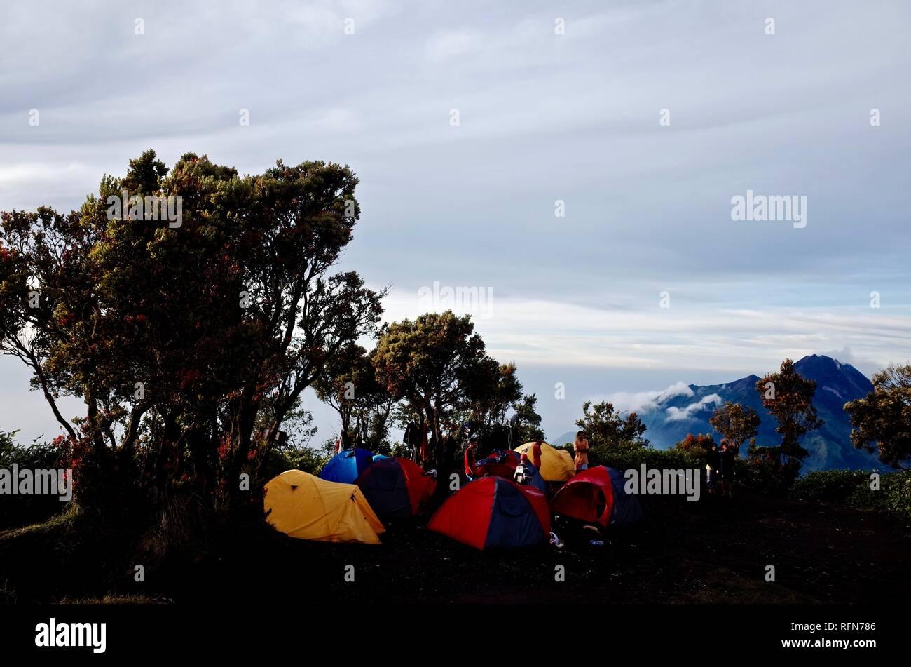 Double Summit Mount Merapi and Mount Merbabu experience - Stock Image