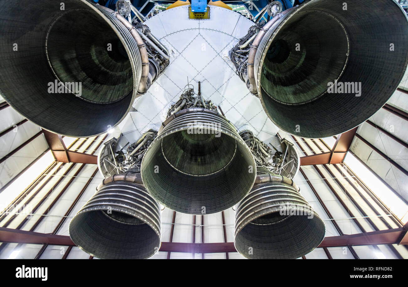 Stage I Rocket Engine Nozzles from Saturn V Rocket, NASA. Johnson Space Center, Houston, TX Stock Photo