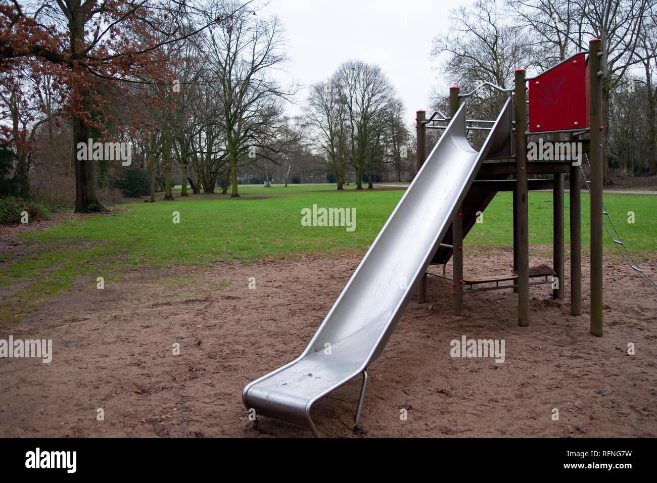 empty Playground, bad weather Stock Photo