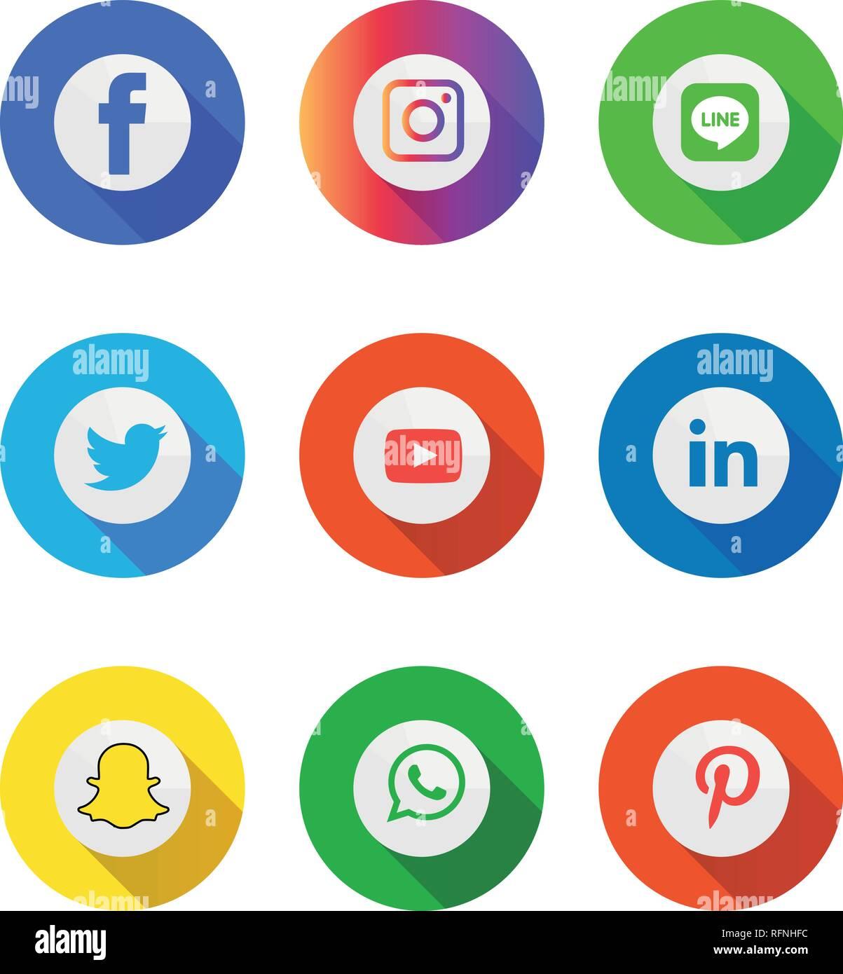 Social Media Icons Set Logo Vector Illustrator Facebook Instagram Twitter Whatsapp Google Plus Google Pinterest Linkedin Messenger Stock Vector Image Art Alamy
